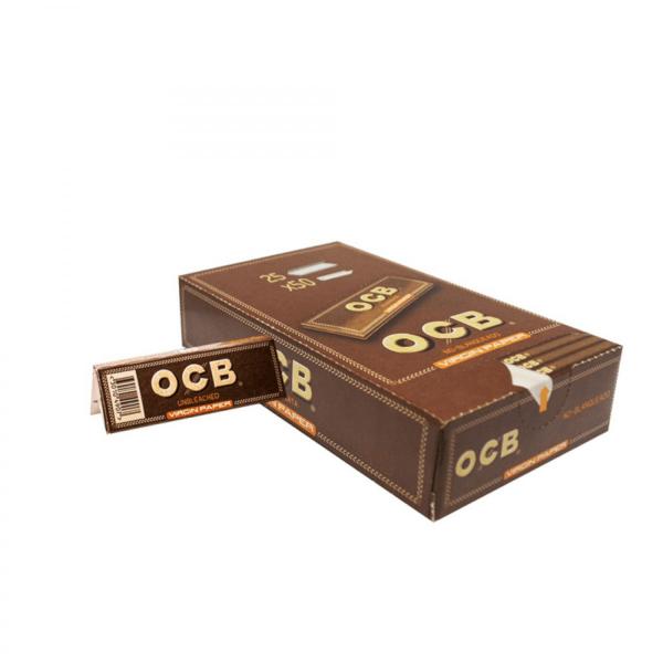 Caja OCB virgin paper corto de 70 mm,pepel sin blanqueantes ni cloro,cada librito tiene 50 papelitos