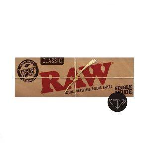 Papel RAW de 50 papelitos tamaño peqeño 70 mm, papel fino natural libre de cloro y sin blanquear.Fabricado en España