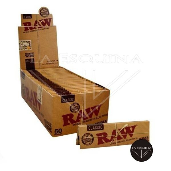 Caja Papel RAW Corto 70 mm, 50 librillos por caja,papel RAW natural sin blanqueadores
