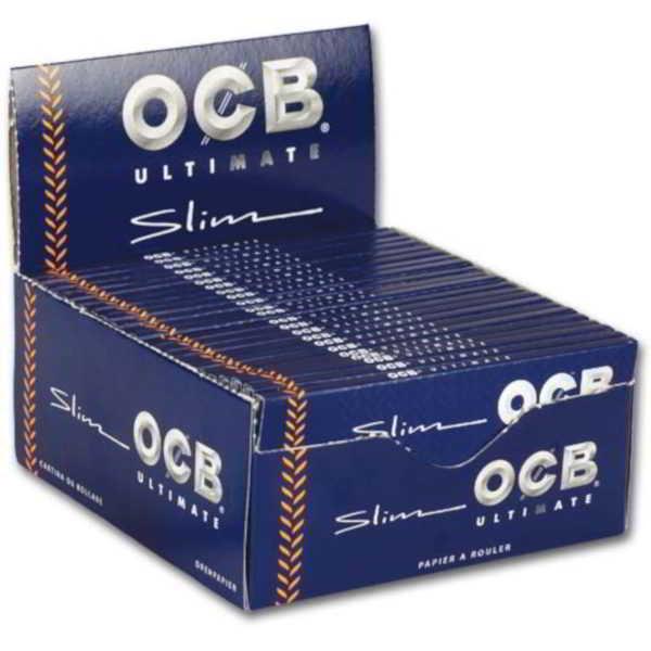 Caja Papel de liar OCB Ultimate Slim de 110 mm,papel ultrafino cada librito contiene 32 papelitos
