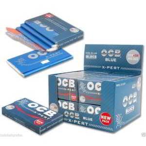Caja Papel de Liar OCB X-pert Azul Corto de 78 mm. Contiene 250+50 hojas de papel para fumar