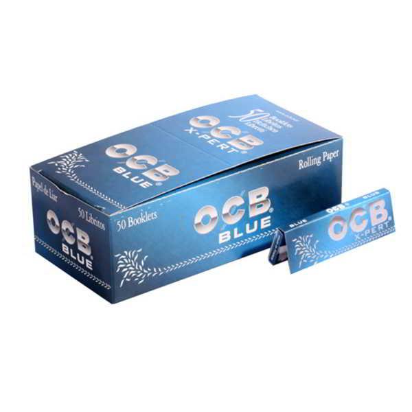 Caja de 50 Papel OCB X-PERT Azul Corto 70 mm