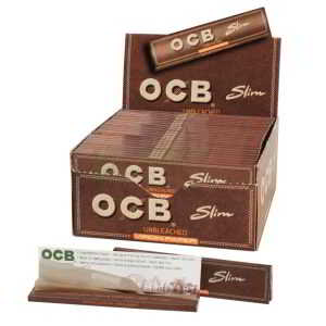 Caja de Papel de Fumar OCB Virgin Paper 110 mm, papel sin blanqueantes,cada librito contiene 32 papelitos