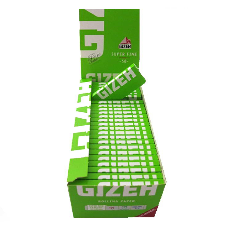 Caja de 50 Papel GIZEH Verde Corto 70 mm