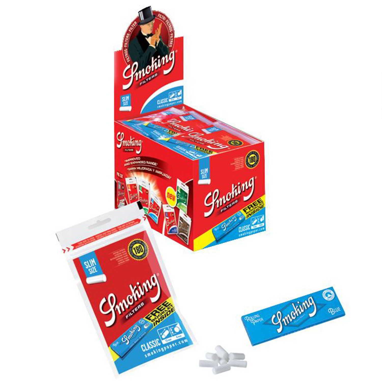 Caja de 30 Filtros SMOKING Slim 6 mm + Papel