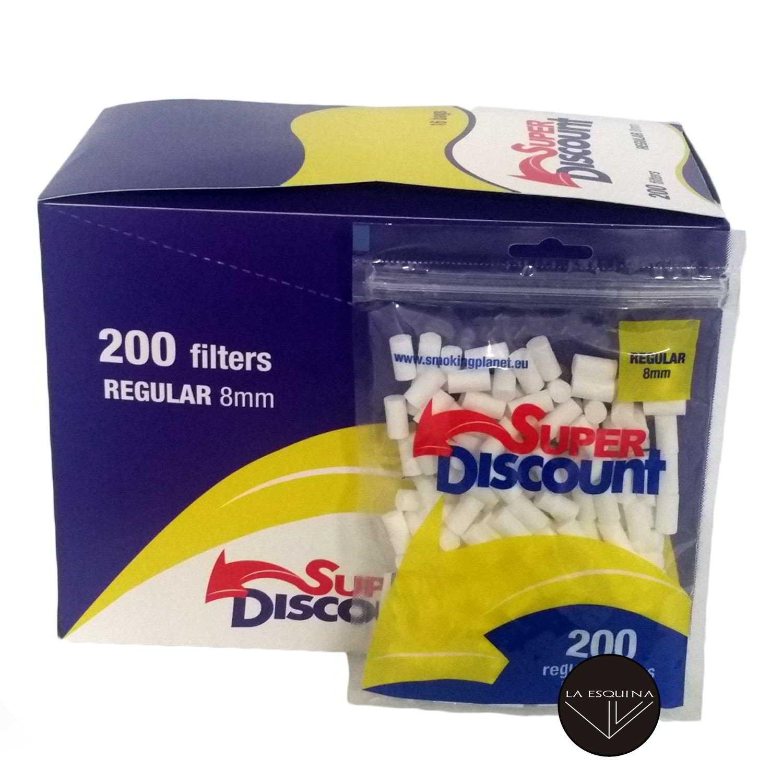 Caja de 16 Filtros SUPER DISCOUNT 8 mm 200 unidades