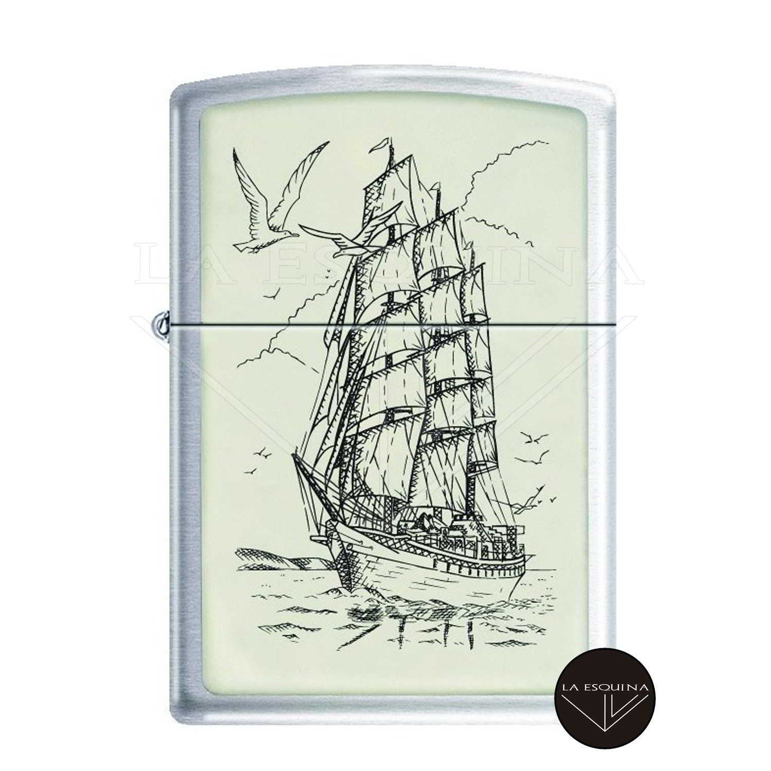 Zippo Ships Ahoy Mechero, Metal, Brushed Chrome
