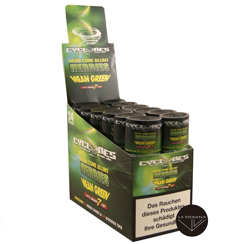 Caja Papel CYCLONES Hemp Herbies Mean Green sabor Herbal Natural . Conos preliados fabricados en cáñamo, la mejor elección para fumar un blunt. Caja de 12 estuches con 2 blunts cada uno