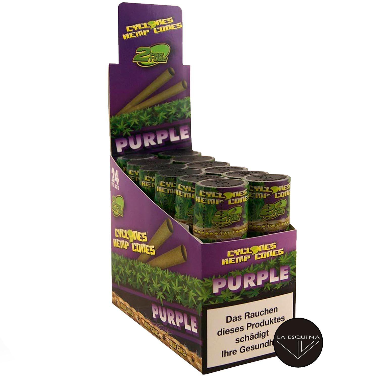 Caja Papel CYCLONES Hemp Purple sabor Uva . Conos preliados fabricados en cáñamo, la mejor elección para fumar un blunt. Caja de 12 estuches con 2 blunts cada uno