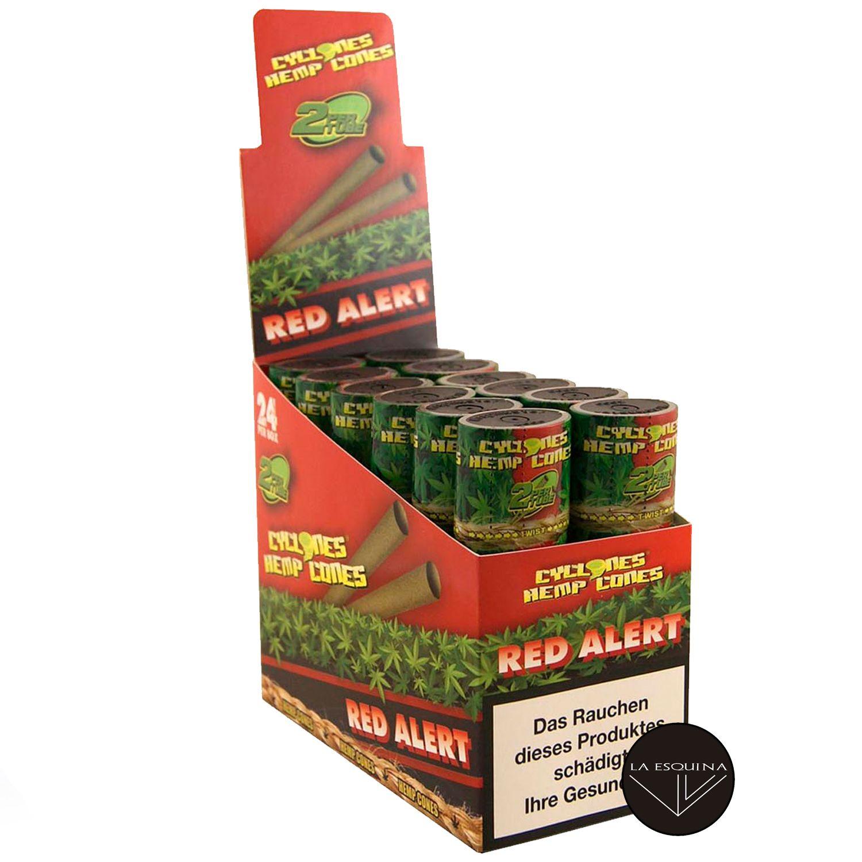 Caja Papel CYCLONES Hemp Red Alert sabor fresa . Conos preliados fabricados en cáñamo, la mejor elección para fumar un blunt. Cada caja contiene 12 estuches con 2 blunts cada uno