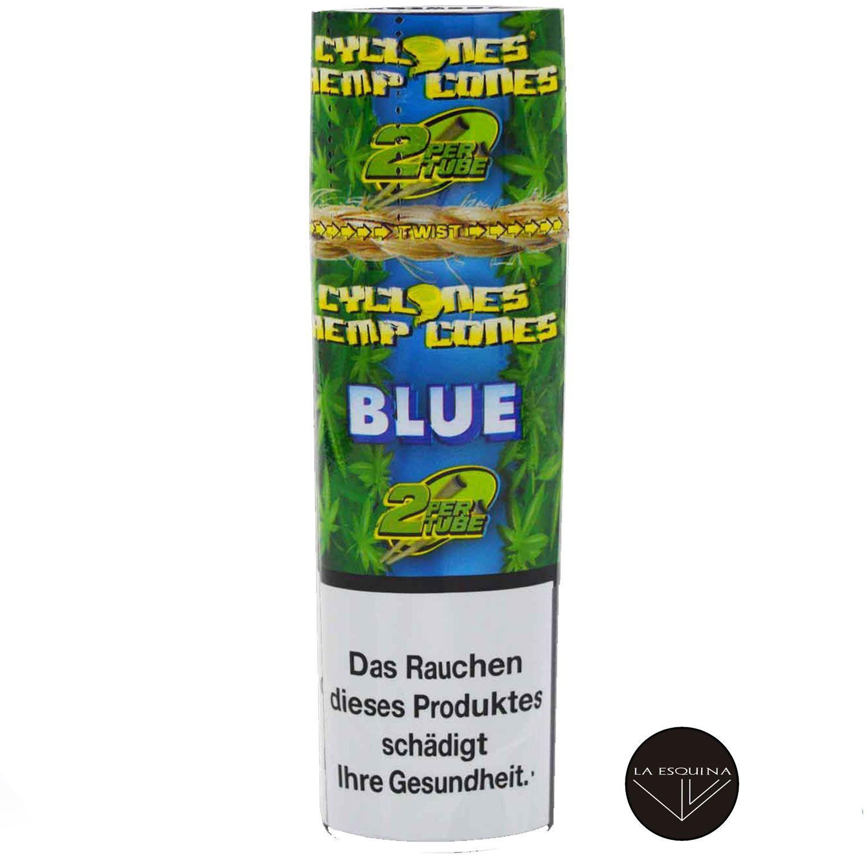 Papel CYCLONES Hemp Blue sabor Arandanos . Conos preliados fabricados en cáñamo, la mejor elección para fumar un blunt. estuches con 2 blunts cada uno
