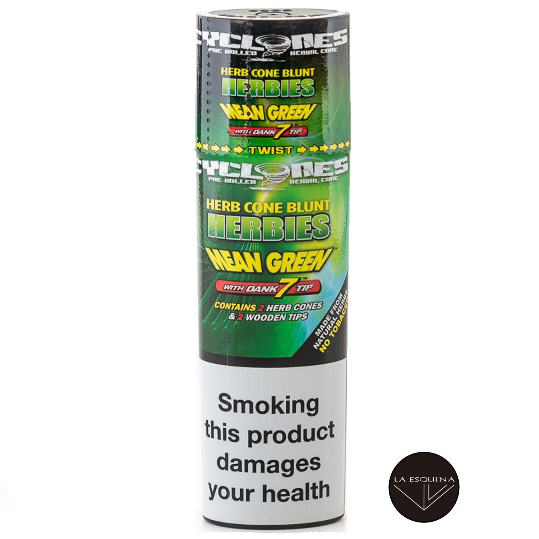 Papel CYCLONES Hemp Herbies Mean Green sabor Herbal Natural . Conos preliados fabricados en cáñamo, la mejor elección para fumar un blunt. Estuches con 2 blunts cada uno