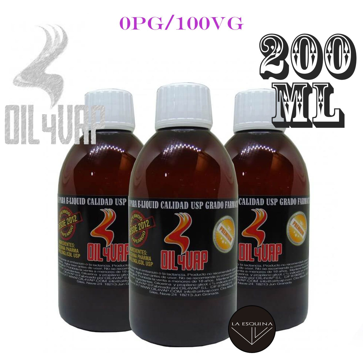 Base OIL4VAP 0PG/100VG (GLICERINA) 200ml