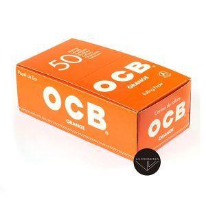 Caja de 50 librillos OCB Naranja. Papel de fumar corto regular de 70 mm. Total 2500 hojas de papel de liar