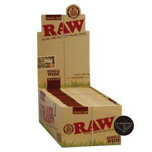 Caja de 50 librillos RAW Organic Single Wide de 70 mm - Total 2500 hojas de papel de fumar