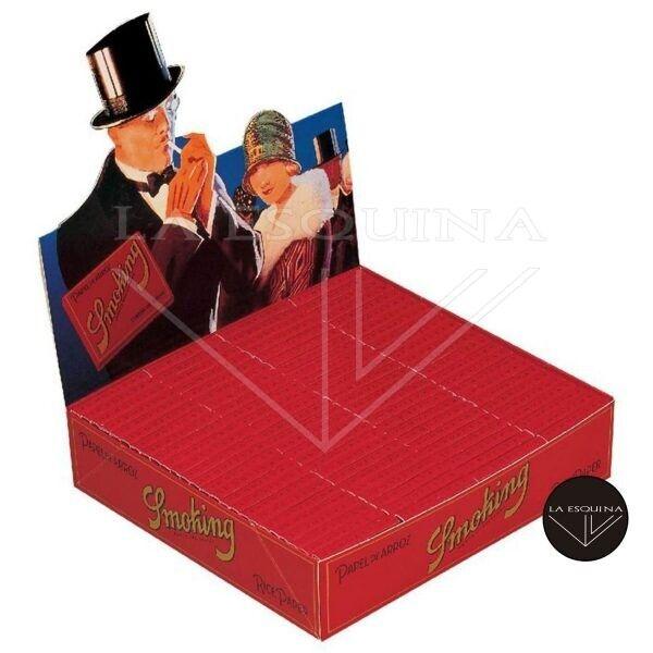 Caja de 100 librillos Smoking Rojo rice paper papel de arroz 70 mm. Total 6000 hojas de liar.