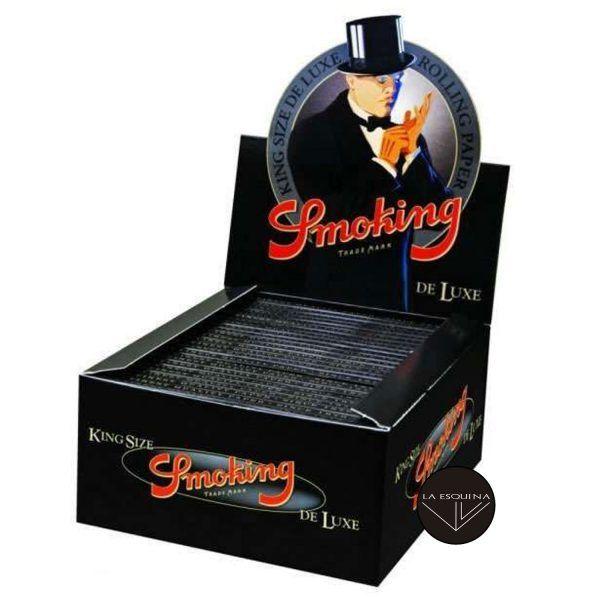 Caja de papel de 50 librillos Smoking Deluxe Largo King Size 110 mm. Total 1600 hojas de papel de liar