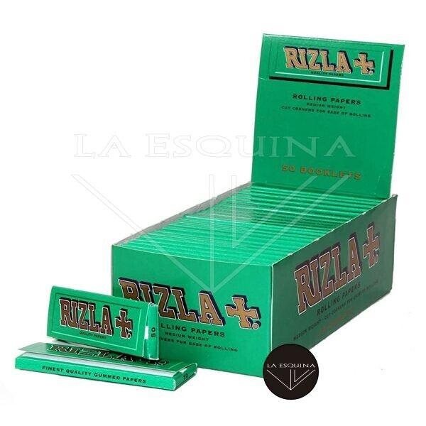 Caja de 50 librillos Rizla Verde de 70 mm. Total 2500 hojas de papel de liar corto