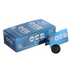 Caja de papel 25 librillos OCB Doble X-Pert Azul. Papel de fumar corto de 70 mm. Total 2500 hojas de papel de liar