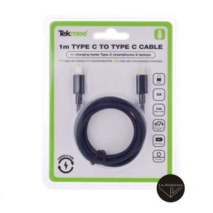 TEKMEE Cable USB Tipo C a Tipo C Macho 1m