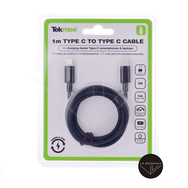Cable Cargador TEKMEE USB Tipo C a Tipo C Macho 1m