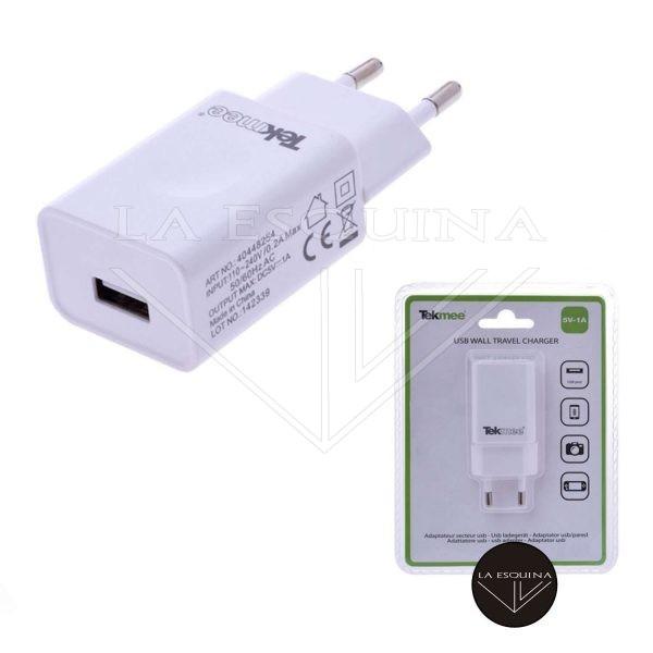 Cargador USB TEKMEE color blanco o negro