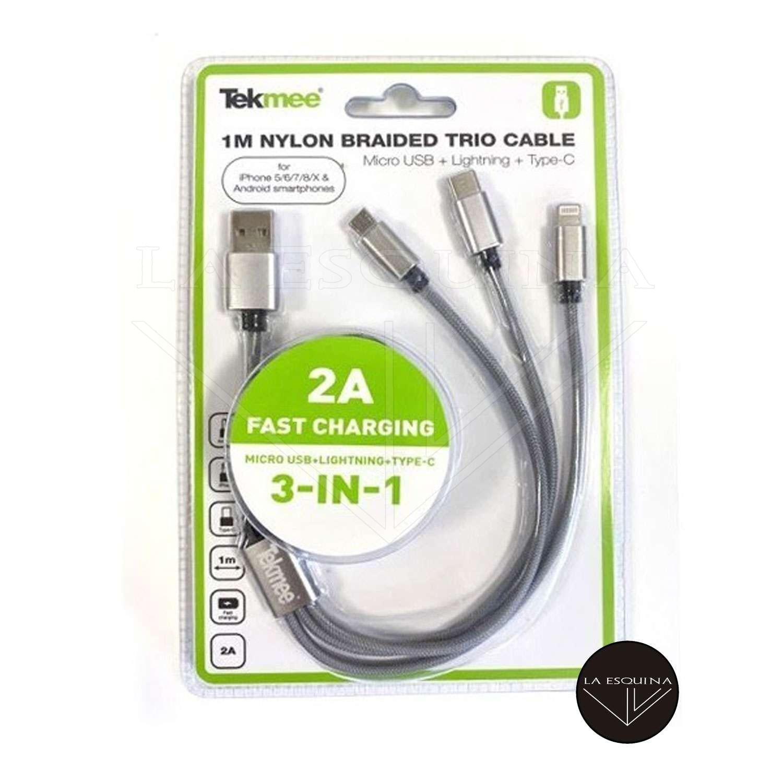 Cable Cargador TEKMEE USB 3 en 1