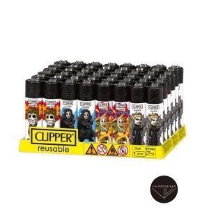 Caja De 48 Encendedores Recargables CLIPPER Calaveritas Medieval