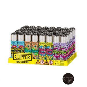 Caja De 48 Encendedores Recargables CLIPPER Hippie Party 2