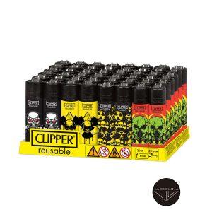 Caja De 48 Encendedores Recargables CLIPPER Radio Skulls