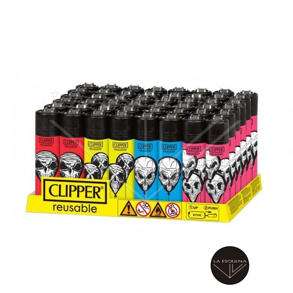 Caja De Encendedor Recargable CLIPPER Ballon Skulls